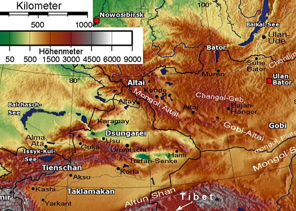 Bản đồ dãy núi Altay