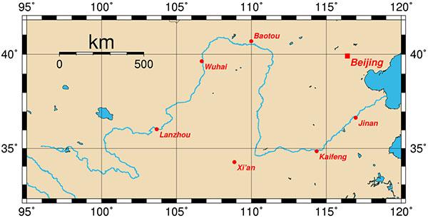 Dòng chảy của Hoàng Hà qua Trung Quốc