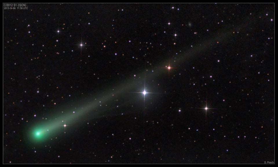 """Ảnh sao chổi ISON """"mọc"""" đuôi ngày 6/11/2013 do Damian Peach chụp"""