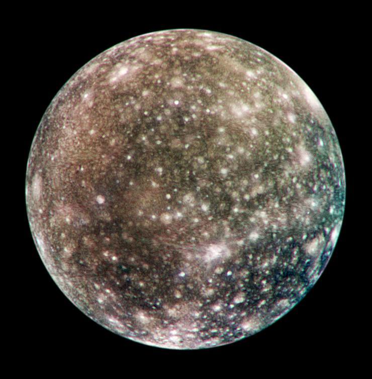 Hình ảnh Callisto thu được năm 2001 bởi tàu vũ trụ Galileo của NASA (Courtesy NASA/JPL-Caltech)